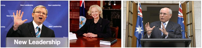 Kevin Rudd, prime minister del 2007 al 2010 (esquerra); John Howard, prime minister des del 1996 al 2007 (dreta), custodiant Quentin Brice, la Governadora Central