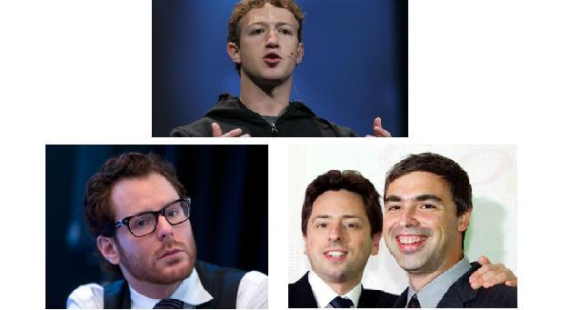 Mark Zuckerberg, Sean Parker, Larry Page i Sergei Brin