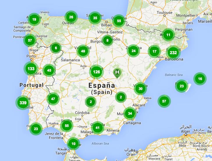 Número de punts de recàrrega a la Península i Balears. Els 232 punts de Barcelona corresponen a la província homònima. Les xifres poden variar lleugerament. Font: http://www.electromaps.com