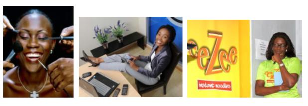 D'esquerra a dreta: Monica Musonda a la seva empresa de fideus. Font: Lusakavoice; La sud-africana Rapelang Rabana. Font: Live Mag Zambia; i la Nigeriana Tara Durotoye. Font: Konnect Africa