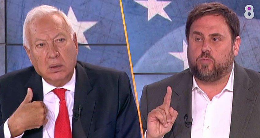 José Manuel García Margallo i Oriol Junqueras debaten a 8TV / Foto de 8TV